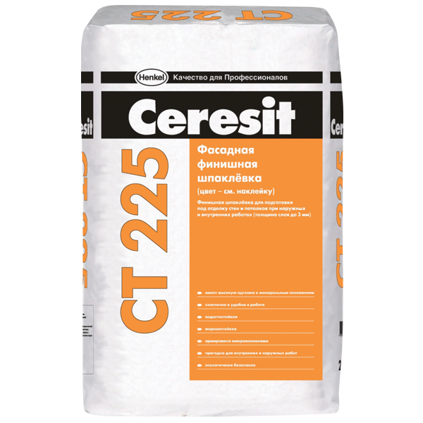 Шпаклевка фасадная финишная Ceresit CT 225 серая
